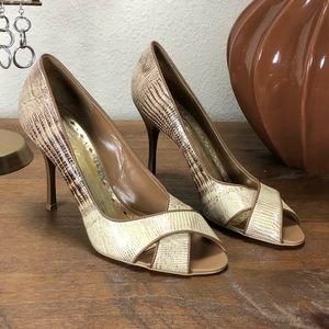 BCBGirls Tan/Cream Embossed Leather Open Toe Heels
